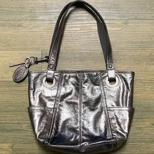 Fossil Pewter Silver Metallic Leather Hobo Purse